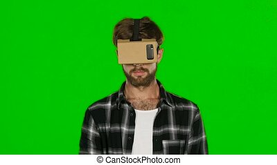 Virtual reality Green screen Close up - Virtual reality, man...