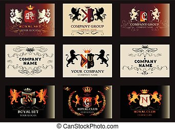 A collection of vector invitation cards or templates in vintage style for elegant design of credit cards branding or any other.eps