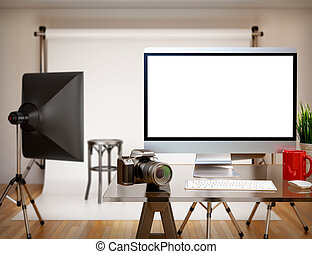 3D Photography studio with blank screen. Mockup