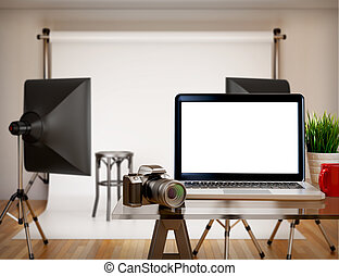 3D Photography studio with blank laptop screen. Mockup