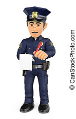 3D Policeman imposing a traffic ticket