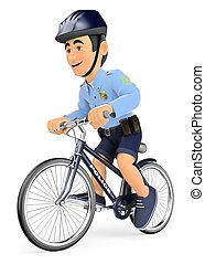 3D Policeman on bicycle - 3d security forces people...