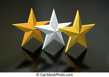 Golden, silver and bronze stars, 3D rendering isolated on...