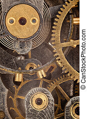 The interior of a pocket watch. - The interior of the clock...