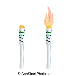 Torch fire, championship icon, a symbol of victory. Isolated vector illustration. Flat 3d vector isometric illustration.