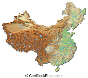 Relief map of China - 3D-Rendering