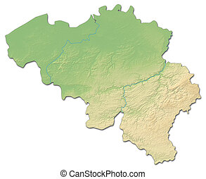Relief map of Belgium - 3D-Rendering - Relief map of Belgium...