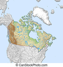 Relief map of Canada - 3D-Rendering