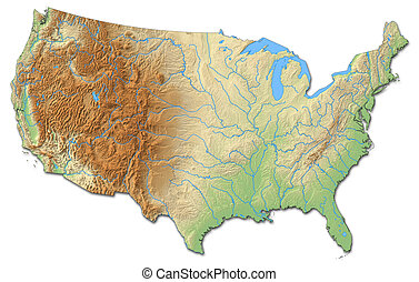 Relief map of United States - 3D-Rendering