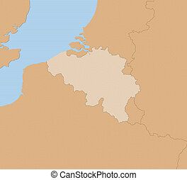 Map - Belgium - Map of Belgium and nearby countries in...