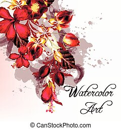 Vector flower design with hibiscus flowers and florals in watercolor style.eps