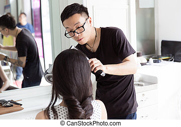 hairdresser use perm rods - in beauty salons clubs, and...