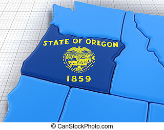 Map of Oregon state with flag