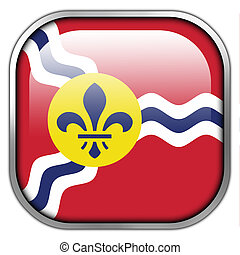 Flag of St Louis, Missouri, square glossy button