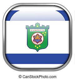 Flag of Tel Aviv, square glossy button