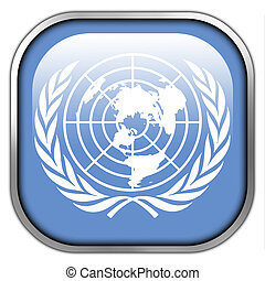 Flag of United Nations, square glossy button