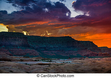 Bull Ridge at Sunset Hole in the Rock Utah - Sunset over...