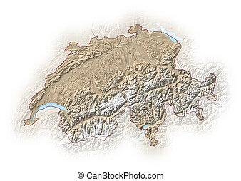 Relief map of Swizerland - 3D-Rendering