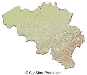 Relief map of Belgium - 3D-Rendering