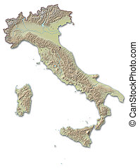 Relief map of Italy - 3D-Rendering - Relief map of Italy,...
