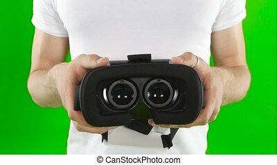 Virtual reality mask. Close up. Green screen - Virtual...