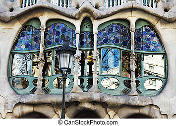 Barcelona, Spain - house Casa Batt - The facade of the house...