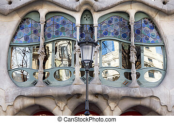 Barcelona, Spain- house Casa Battlo - The facade of the...