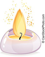 Tealight candle over white backgrou - Small tealight candle...
