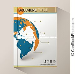 Annual report business statistics template for magazine, brochure.