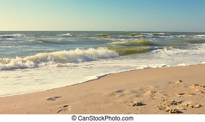 Time lapse of summer sea waves. Morning sea with waves sun...