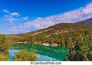 Mountain canyon Verdon in the Alps - Smooth emerald river...
