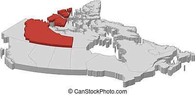 Map - Canada, Northwest Territories - 3D-Illustration - Map...