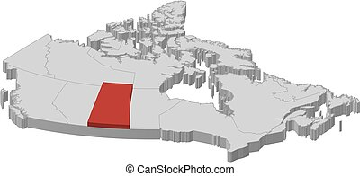 Map - Canada, Saskatchewan - 3D-Illustration - Map of Canada...
