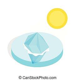 Melting iceberg icon, isometric 3d style