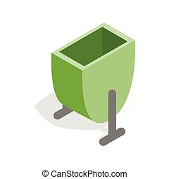 Green trash outdoor bin icon, isometric 3d style - Green...