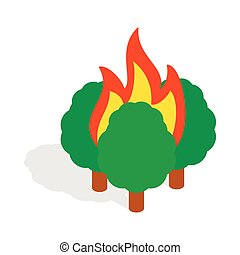 Burning trees icon, isometric 3d style - Burning trees icon...