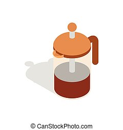 French press coffee maker icon, isometric 3d style - French...