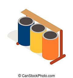Three colorful selective trash cans icon in isometric 3d...