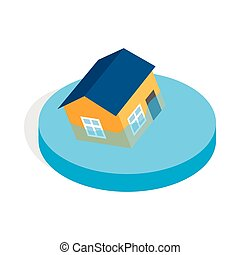 House sinking in a water icon, isometric 3d style