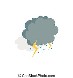 Cloud, lightning and hail icon, isometric 3d style - Cloud,...