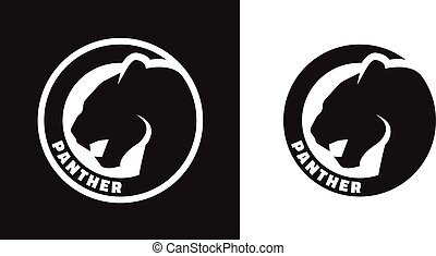 Silhouette of an panther, monochrome logo. - Silhouette of...
