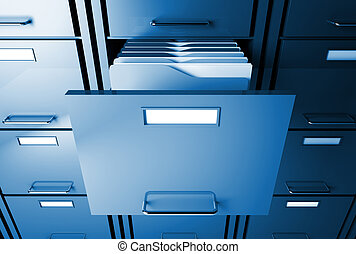 file cabinet and folder - file cabinet 3d blue tone office...