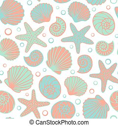 Seashell seamless pattern - Summer sea background. Colorful...