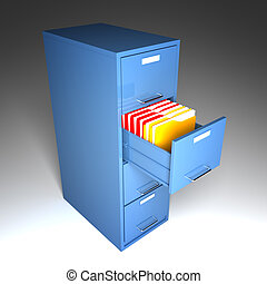 file and folder cabinet 3d business illustration