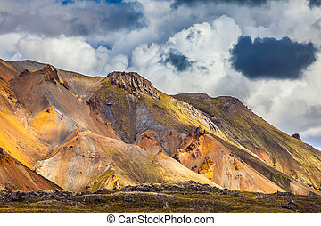 Bright and multi-colored rhyolite mountains - Summer...
