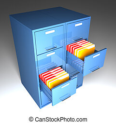 file cabinet 3d and colorful folder closeup image