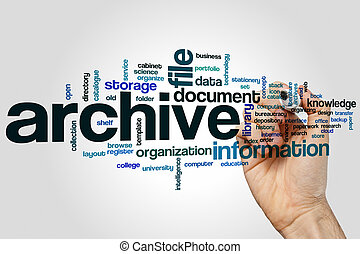 Archive word cloud concept