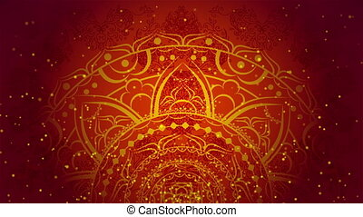 Indian red ornament - Colorful kaleidoscopic patterns. Zoom...
