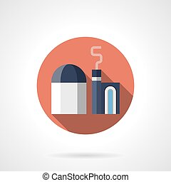 Metallurgy plant red round vector icon - Abstract metallurgy...