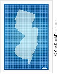 New Jersey on blueprint on a white background